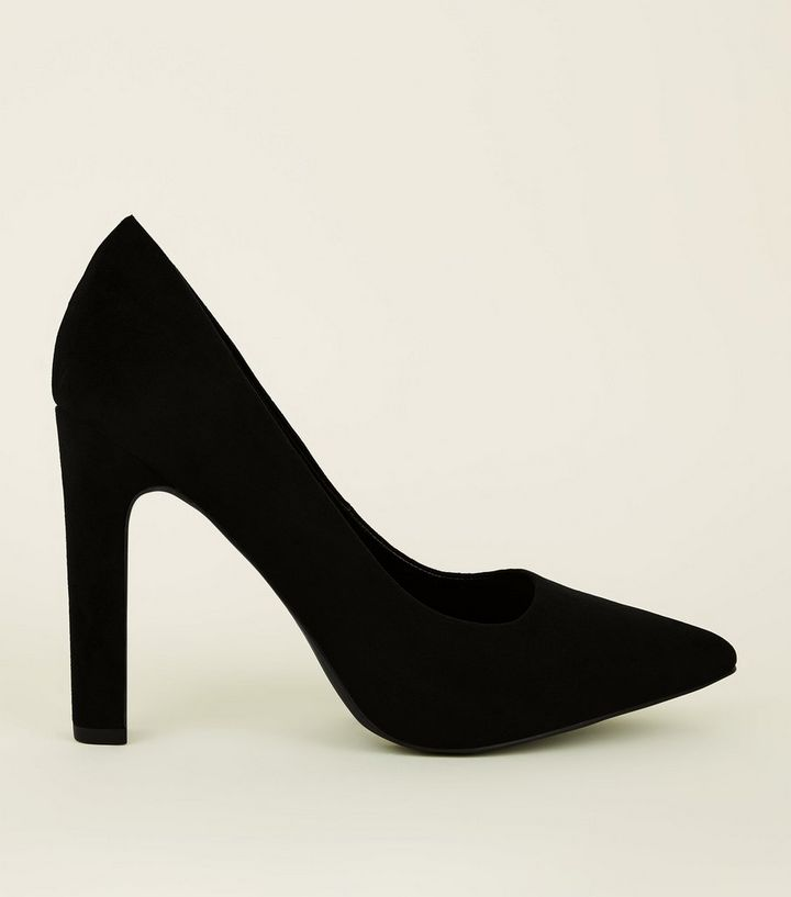 419666a0d6f Wide Fit Black Suedette Block Heel Pointed Courts Add to Saved Items Remove  from Saved Items