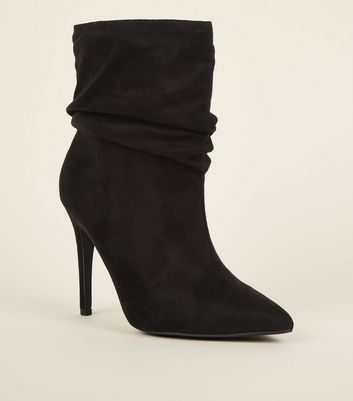 Wide Fit Black Suedette Stiletto Slouch Boots