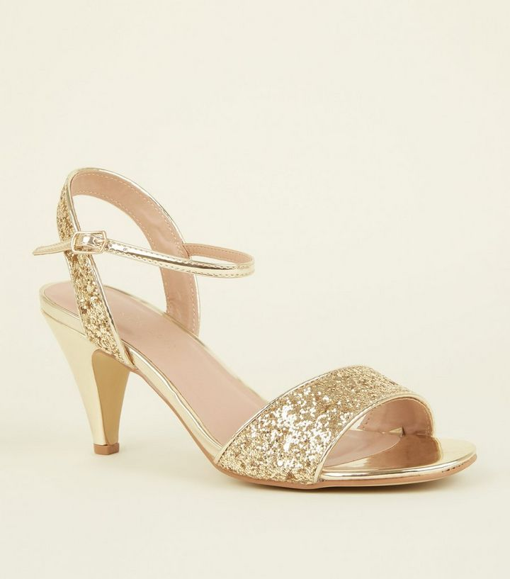 fd436e91fdc Wide Fit Gold Glitter Cone Heels
