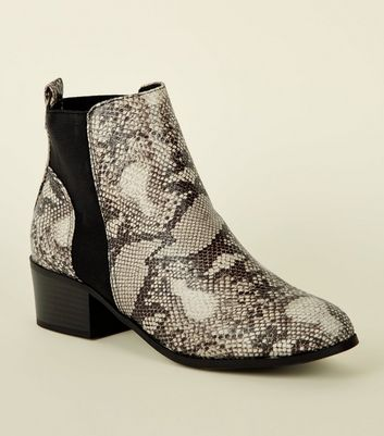 Black Comfort Faux Snake Chelsea Boots