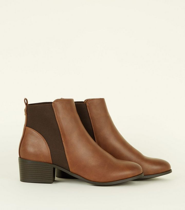 6d382fe1a56 Tan Comfort Low Block Heel Chelsea Boots Add to Saved Items Remove from  Saved Items