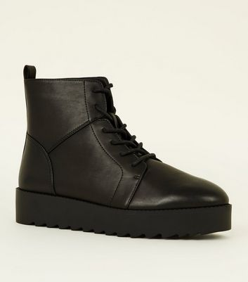 Black Leather-Look Chunky Flatform Lace Up Boots