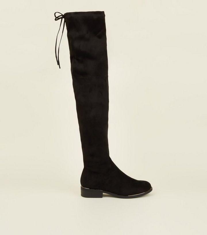 de5537b9fb2 Black Suedette Flat Over the Knee Boots