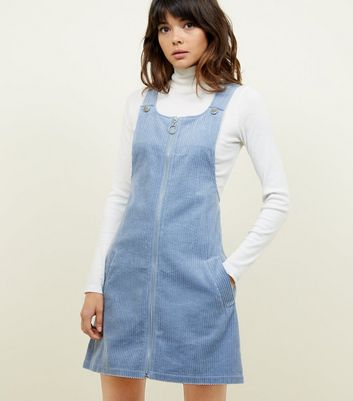 Blue Corduroy Zip Through Pinafore Dress