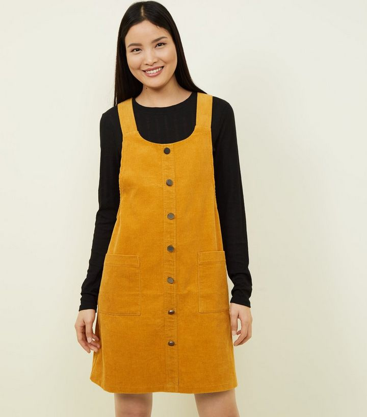 8cddc0cfd52f Mustard Button Front Corduroy Pinafore Dress | New Look