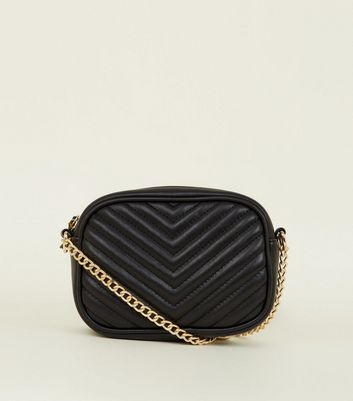 Black Chevron Quilted Camera Bag