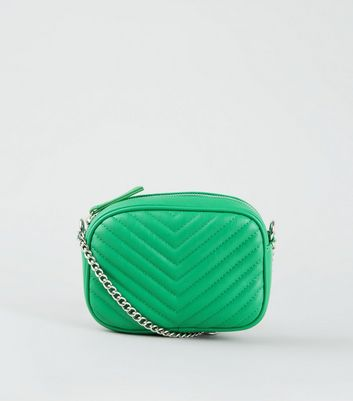 Green Chevron Quilted Camera Bag
