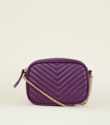 Purple Chevron Quilted Camera  Bag