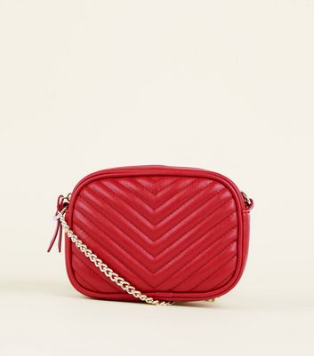 Red Chevron Quilted Camera  Bag