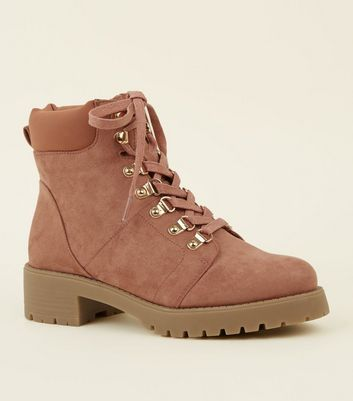 Girls Pink Faux Suede Hiker Boots