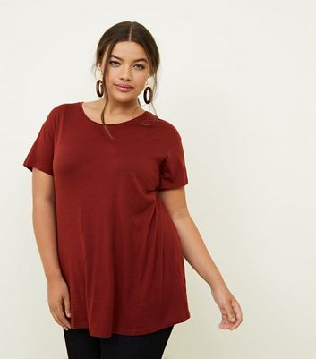 Curves Rust Cotton Blend T-Shirt