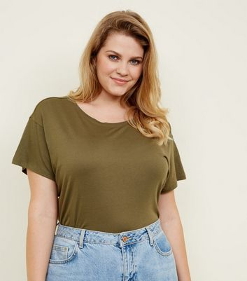 Curves Olive Green Cotton Blend T-Shirt