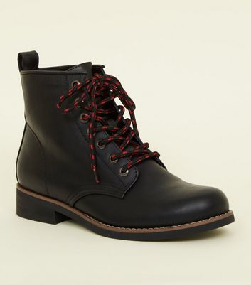 Girls Black Leather-Look Contrast Lace Hiker Boots