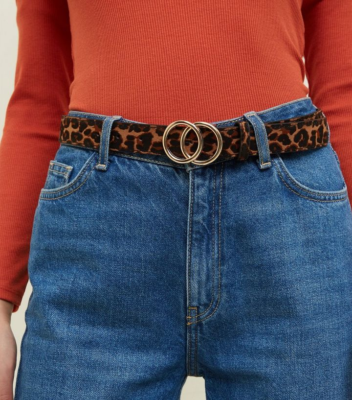 47eb94dedf Tan Leopard Print Circle Buckle Belt Add to Saved Items Remove from Saved  Items