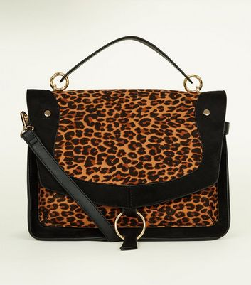 Brown Leopard Print Satchel Bag