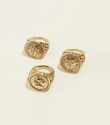 3 Pack Gold Sovereign Rings New Look