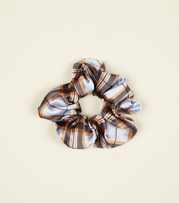 Cornflower Blue Tartan Scrunchie