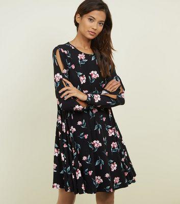 Blue Vanilla Black Floral Split Sleeve Dress New Look
