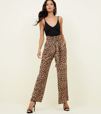 Blue Vanilla Brown Leopard Print Trousers New Look