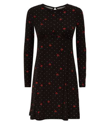 Blue Vanilla Black Polka Dot Rose Print Swing Dress New Look