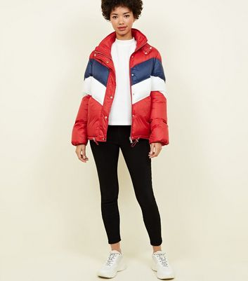Pink Vanilla Red Chevron Puffer Jacket