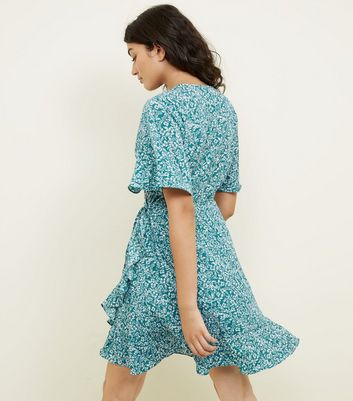 Apricot Green Ditsy Floral Wrap Dress New Look