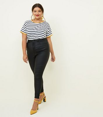 Curves Black Leather-Look High Waist Skinny Jeans