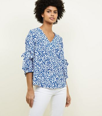 Apricot Blue Square Print Bell Sleeve Top New Look