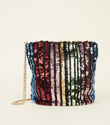Rainbow Sequin Stripe Bucket Bag