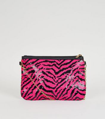 Pink 2 Way Sequin Clutch Bag