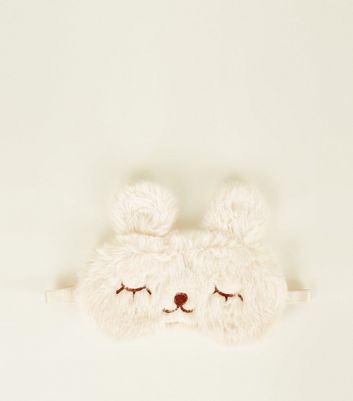 Off White Fluffy Bunny Eye Mask