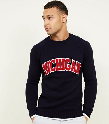 Navy Michigan Appliqué Crew Neck Jumper