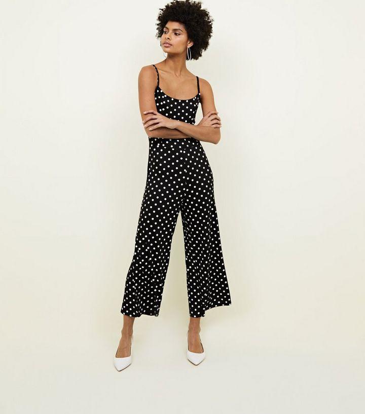 6beb2ebda52 Innocence Black Spot Print Culotte Jumpsuit