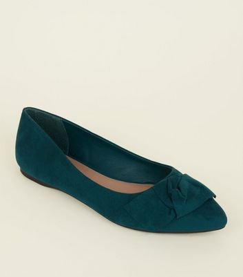 Wide Fit Green Suedette Knot Bow Pumps