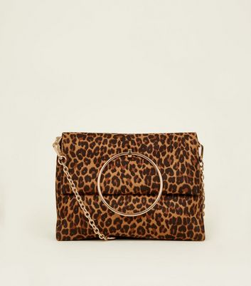 Brown Leopard Print Suedette Ring Handle Bag