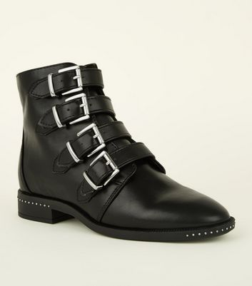 Girls Black Buckle Strap Studded Ankle Boots