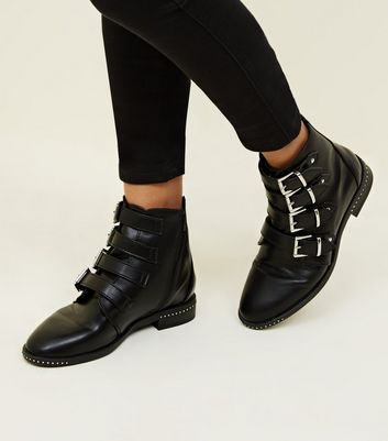 Black Buckle Strap Studded Ankle Boots