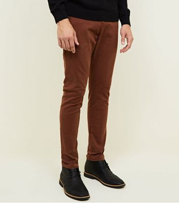 Pantalon chino rouge brique skinny stretch