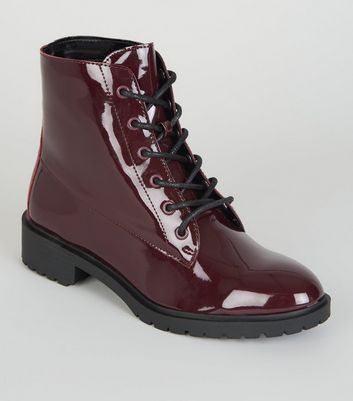 Girls Burgundy Patent Lace Up Boots