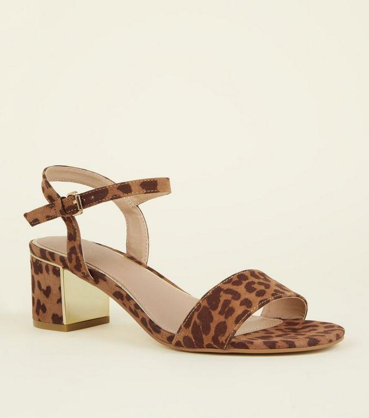cf86c01768a6 Wide Fit Tan Leopard Print Mid Block Heels | New Look