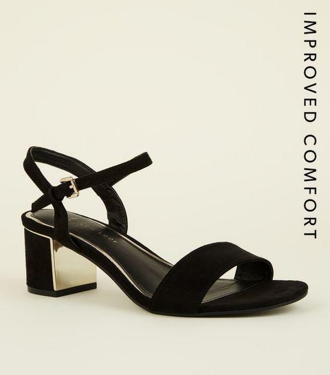 9ff5bcc8273 ... Wide Fit - Chaussures noires en suédine à talon blocs moyens  métalliques ...