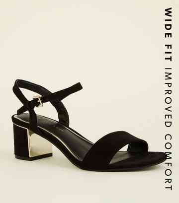 Wide Fit Black Suedette Metal Mid Block Heels