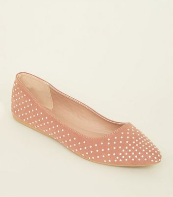 Wide Fit Pink Suedette Studded Pointed Pumps