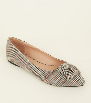 Wide Fit Grey Check Bow Pointed Ballet Pumps