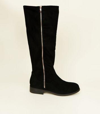 Wide Fit Black Zip Side Knee High Flat