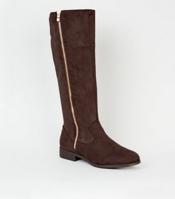 Wide Fit Rust Zip Side Knee High Flat Boots by New Look