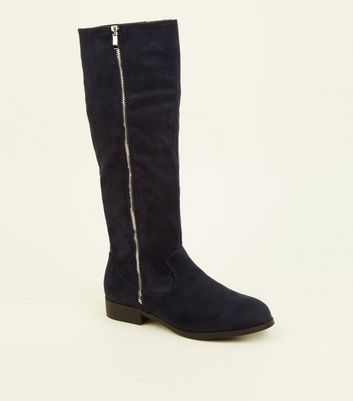 Wide Fit Navy Zip Side Knee High Flat Boots