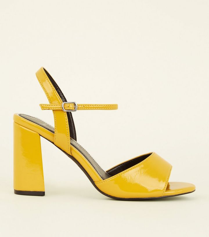 8c9e7a1c3953 Wide Fit Mustard Patent Flared Heel Sandals