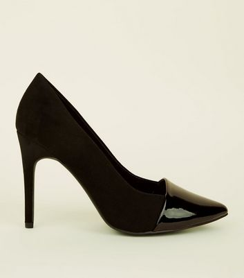 Wide Fit Black Suedette and Patent Pointed Court Shoes