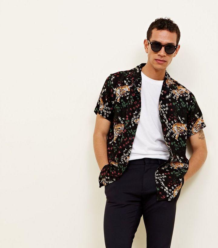 ... Black Tiger Print Button Through Short Sleeve Shirt. ×. ×. ×. Shop the  look 88077c78a
